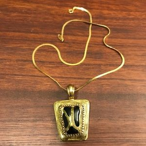Jewelry - Gold and Black Pendant Necklace